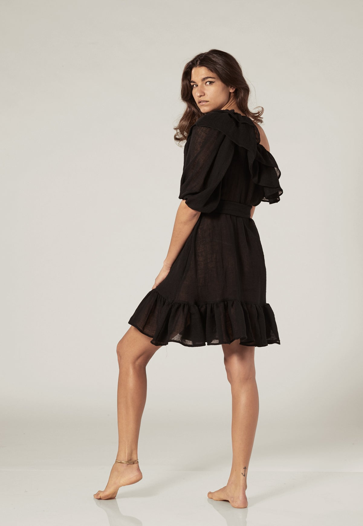 ARDEN BLACK GAUZE MINI DRESS