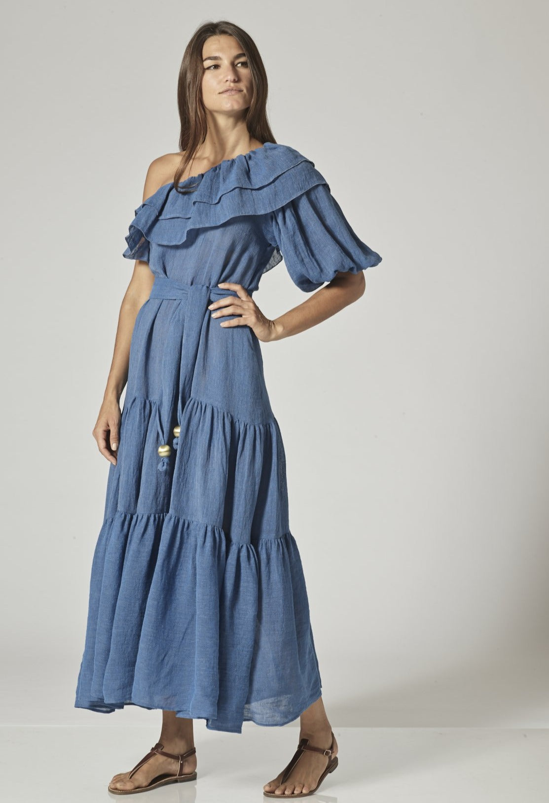 ARDEN MOROCCAN BLUE GAUZE DRESS