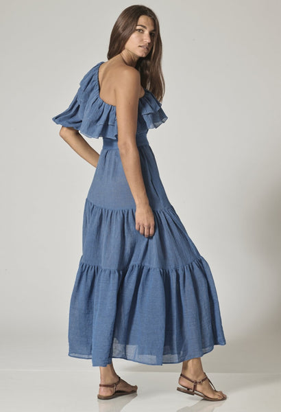 ARDEN MOROCCAN BLUE ORGANIC GAUZE DRESS
