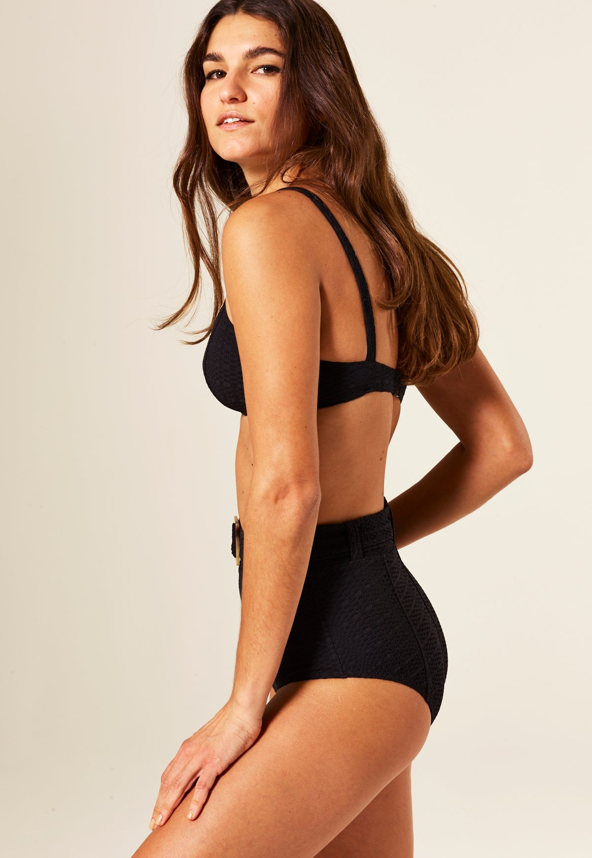 GENEVIEVE BLACK BELTED HIGH-WAIST BIKINI