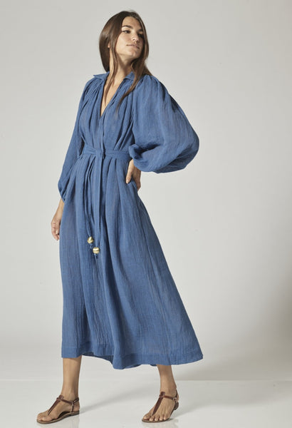 POET MOROCCAN BLUE ORGANIC GAUZE DRESS