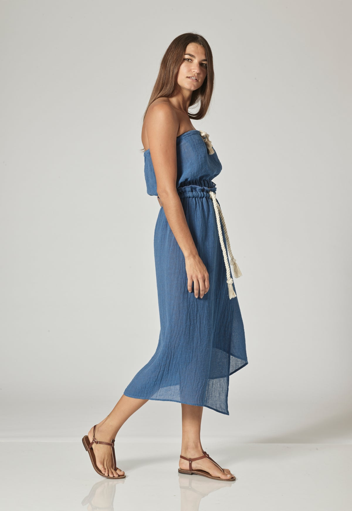 VICTOR MOROCCAN BLUE GAUZE MAXI SKIRT