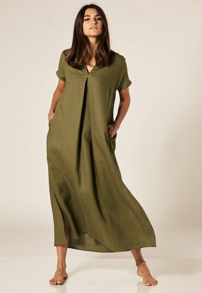 ROSETTA OLIVE LINEN CAFTAN (AVAILABLE FOR PRE-ORDER)
