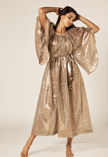 ANGEL SLEEVE GOLD METALLIC MAXI DRESS