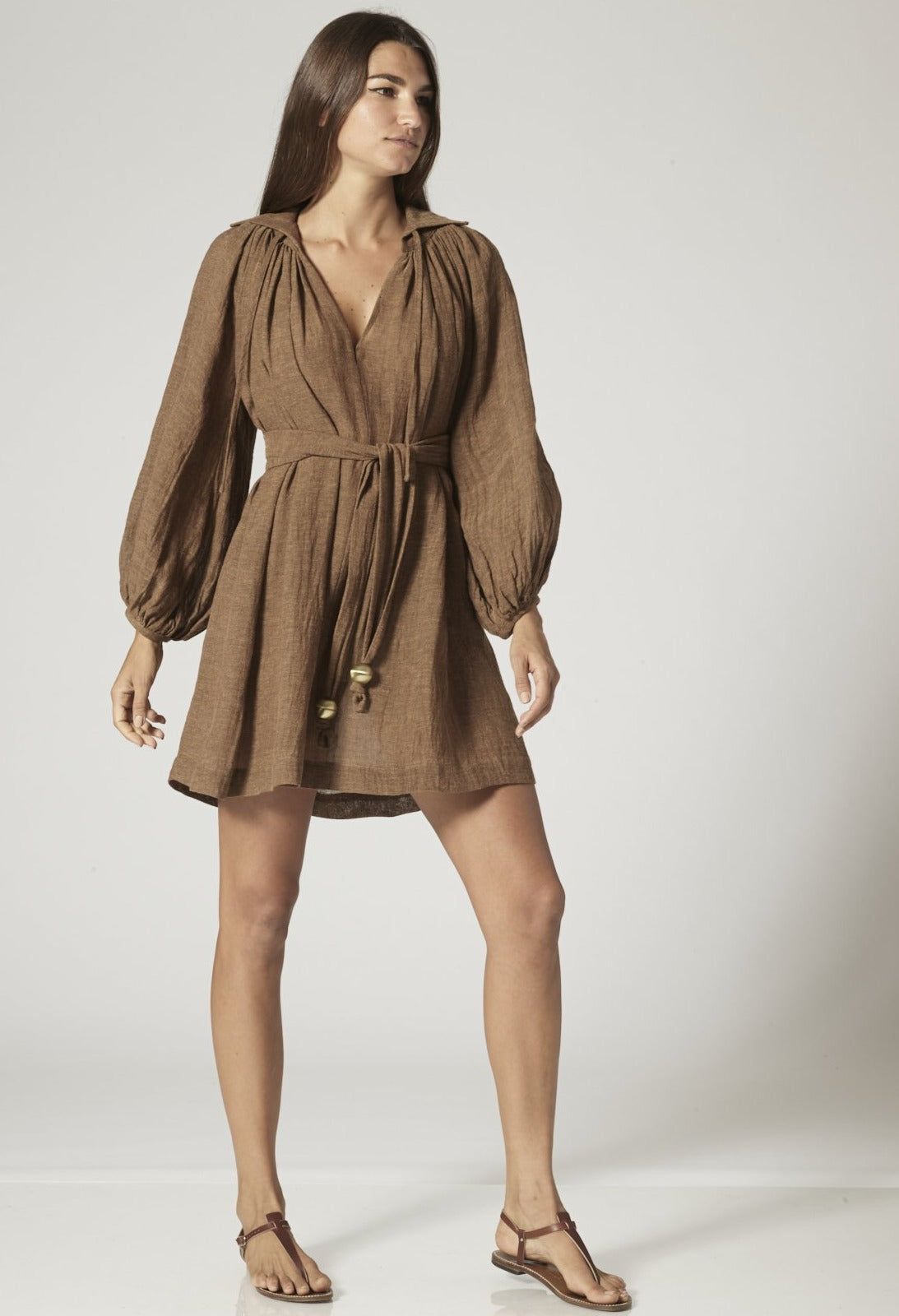 POET MOCHA ORGANIC GAUZE MINI DRESS