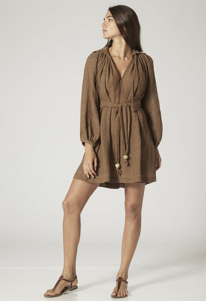POET MOCHA GAUZE MINI DRESS