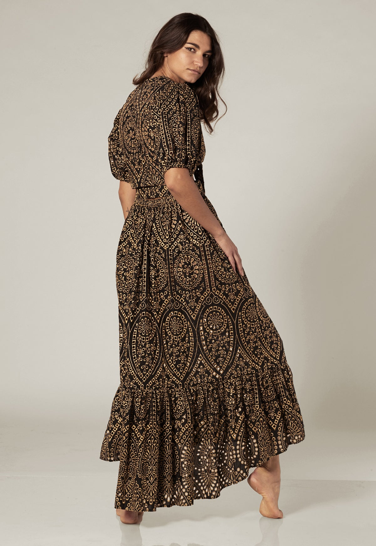 NICOLE BLACK/GOLD EYELET SKIRT