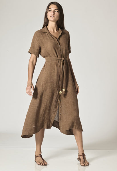 MOCHA GAUZE SHIRT DRESS