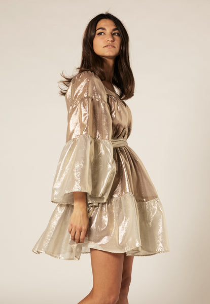 GOLD METALLIC MINI PEASANT DRESS