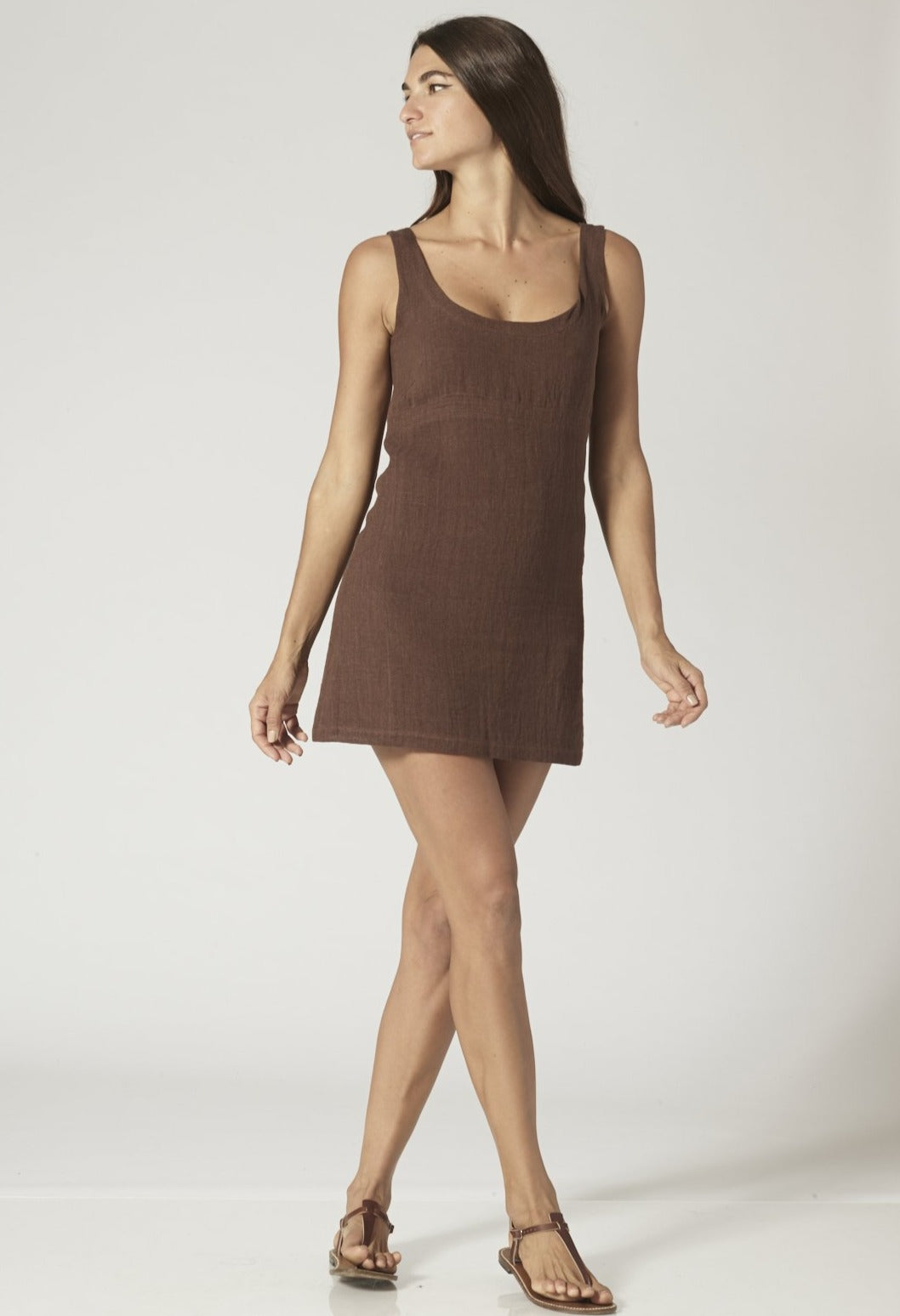 ZANI CHOCOLATE GAUZE MINI DRESS