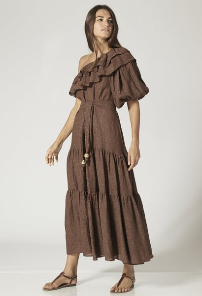 ARDEN CHOCOLATE METALLIC GAUZE DRESS