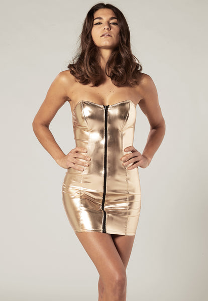 LEIGH WHITE GOLD PVC DRESS