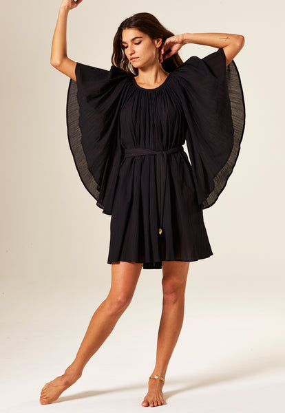 ANGEL SLEEVE BLACK COTTON MINI DRESS