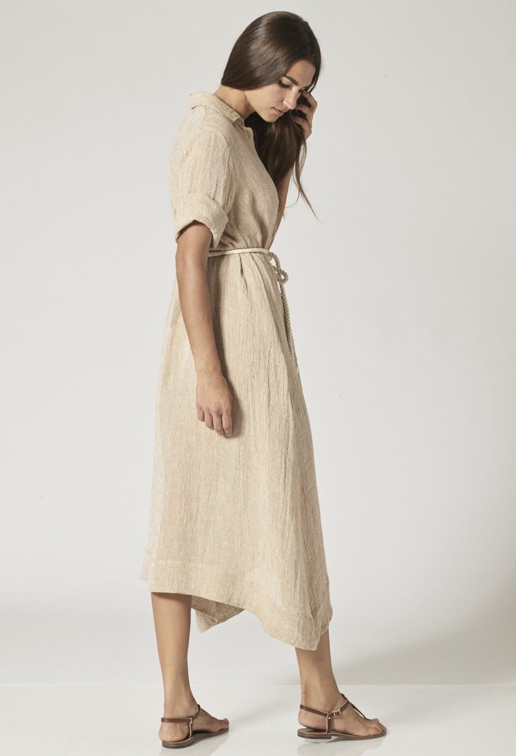 NATURAL CHIOS GAUZE SHIRT DRESS