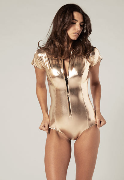 FARRAH WHITE GOLD METALLIC PVC MAILLOT