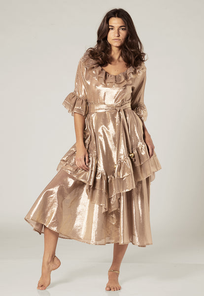LAURA GOLD METALLIC RUFFLE DRESS