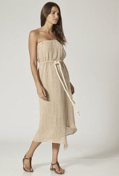VICTOR NATURAL CHIOS GAUZE MAXI DRESS