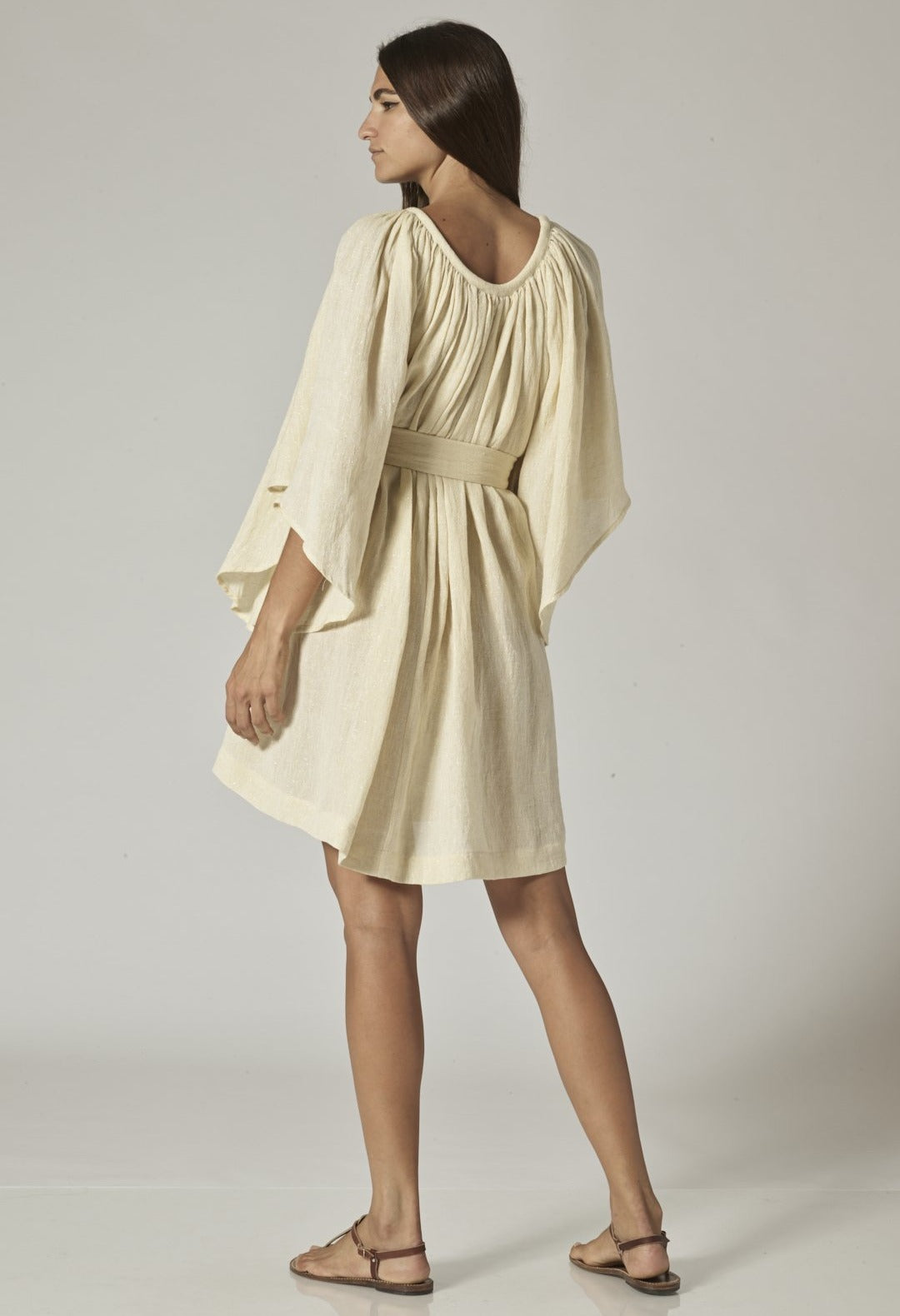 ANGEL SLEEVE NATURAL METALLIC GAUZE MINI DRESS