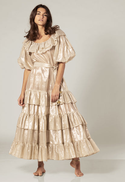EUGENIE WHITE GOLD METALLIC DRESS