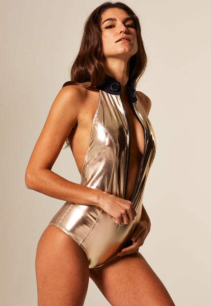 LISA MARIE WHITE GOLD METALLIC PVC MAILLOT