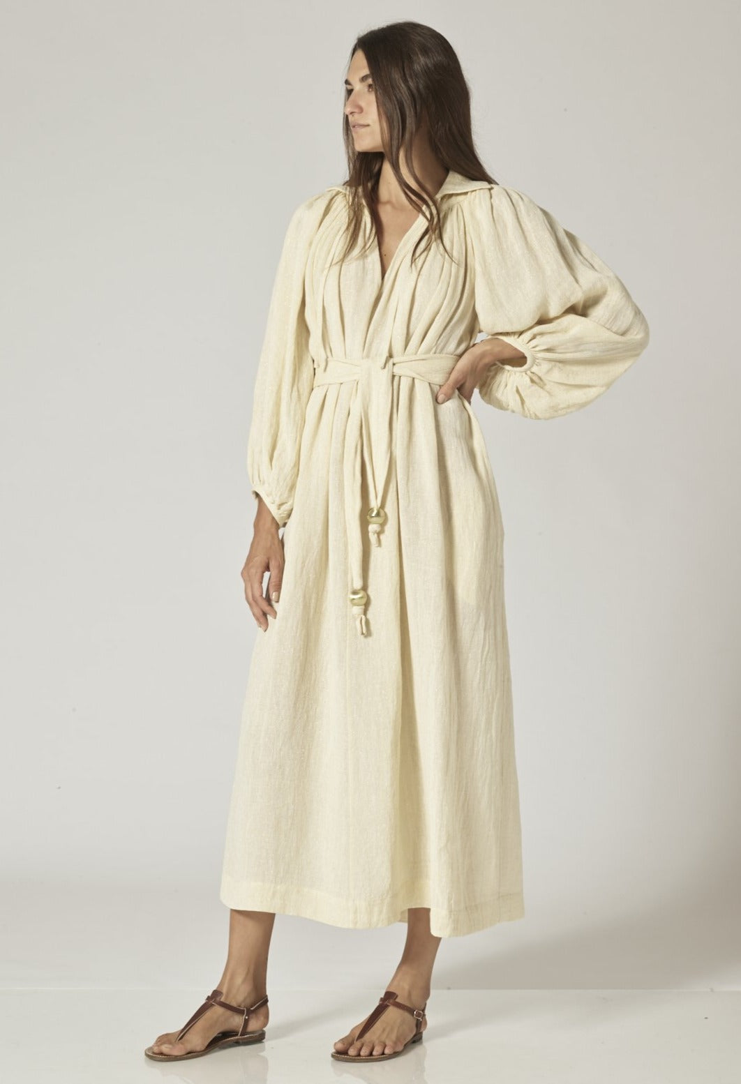 POET NATURAL METALLIC GAUZE DRESS
