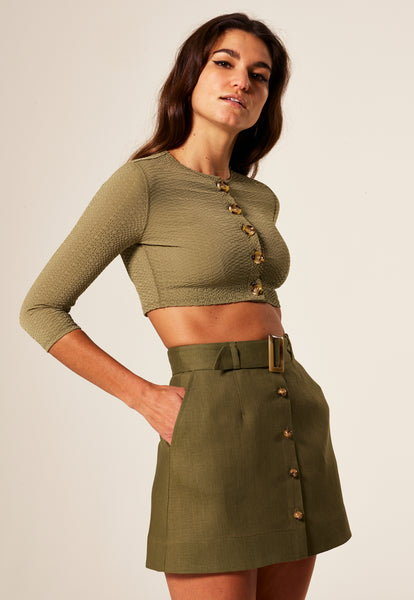 BELTED OLIVE LINEN MINI SKIRT