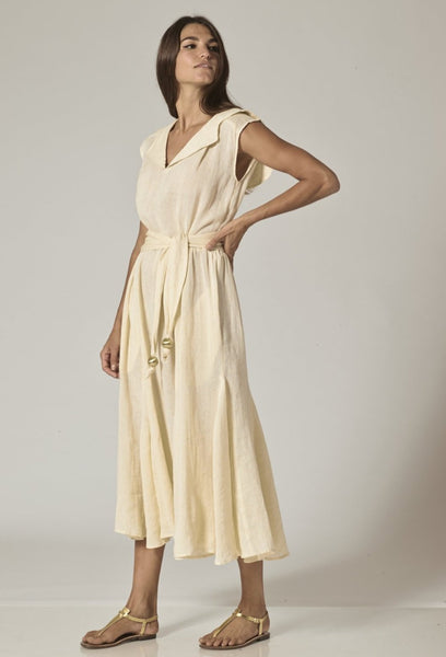 MARGUERITE NATURAL LINEN DRESS