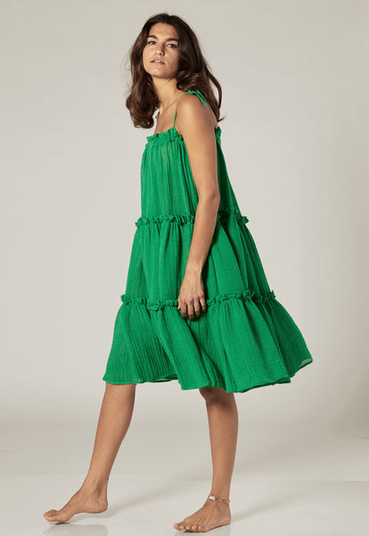 GREEN GAUZE RUFFLE PEASANT DRESS