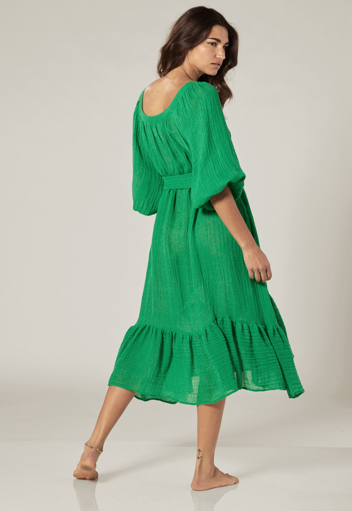 LAURE GREEN GAUZE DRESS