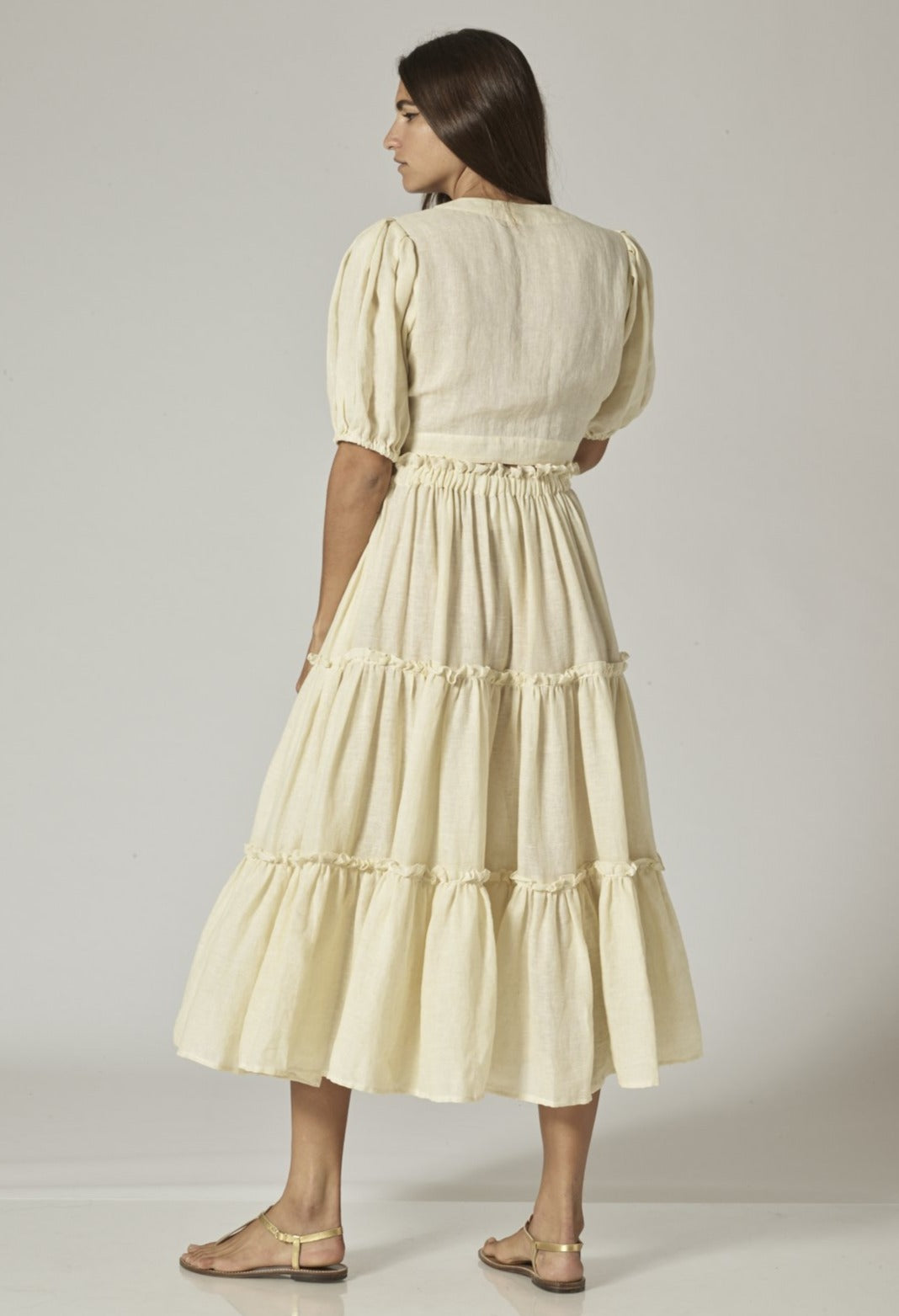 NATURAL LINEN RUFFLE PEASANT SKIRT