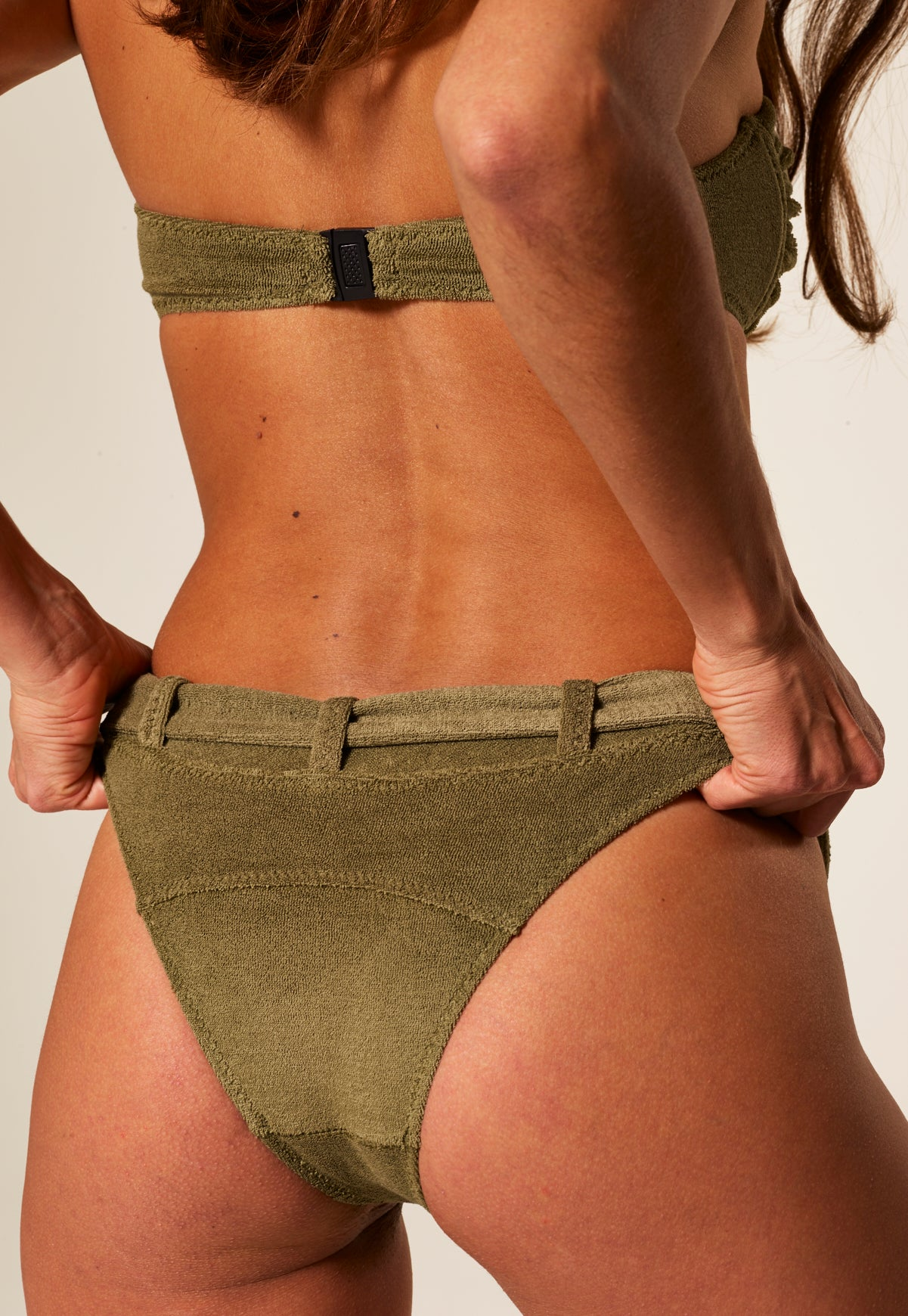 BUCKLE BANDEAU OLIVE TERRY CLOTH BIKINI