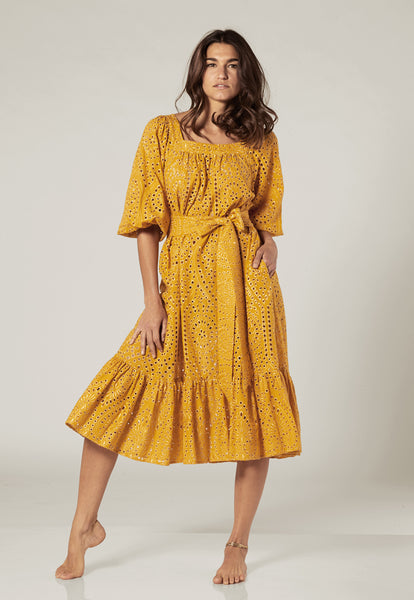LAURE SAFFRON AND GOLD EYELET DRESS