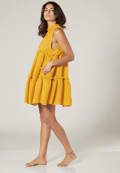 ERICA SAFFRON GAUZE RUFFLE DRESS