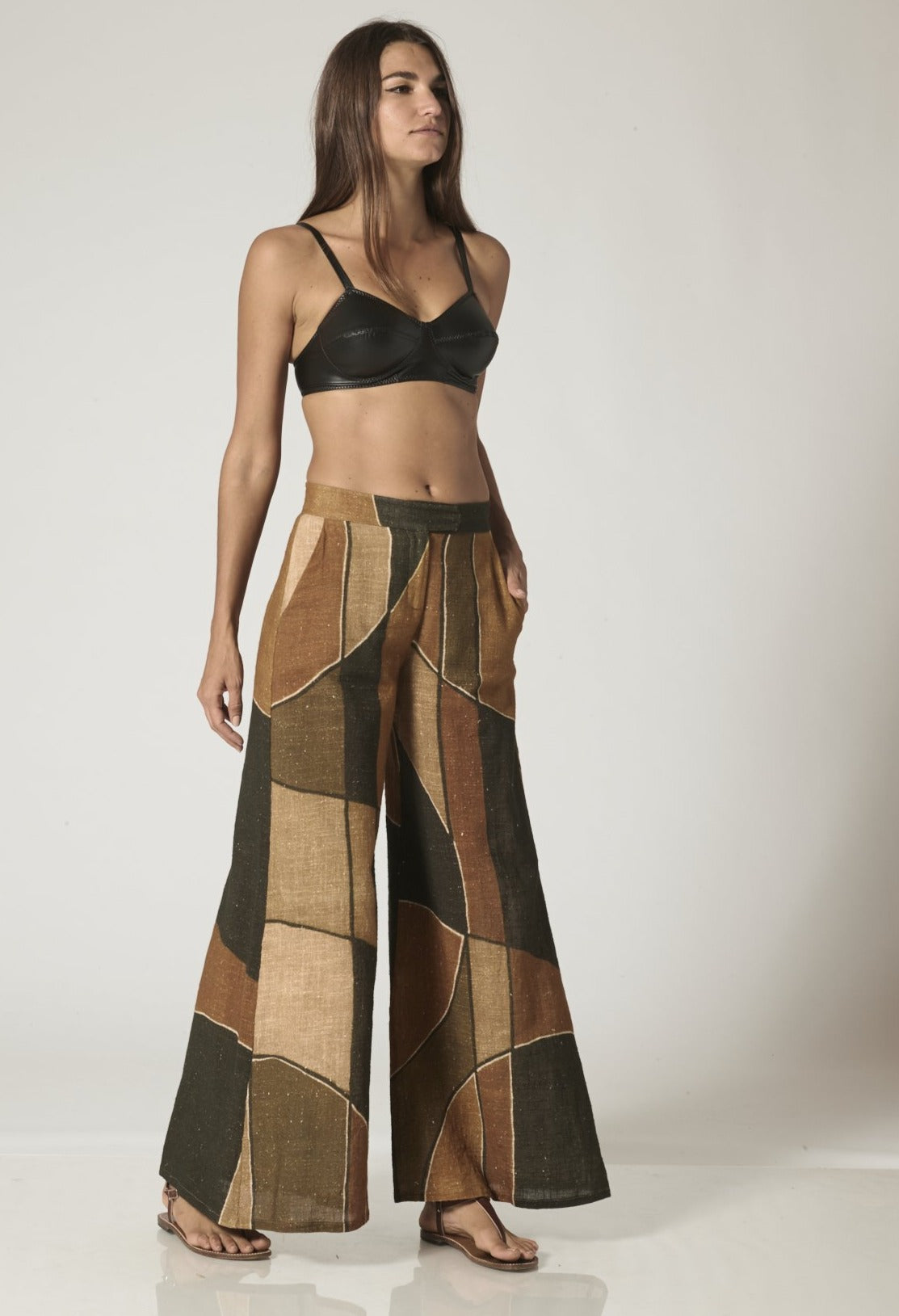 AFRICAN MUDCLOTH COTTON WIDE LEG PANT