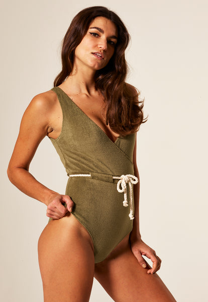 YASMIN OLIVE TERRY CLOTH MAILLOT