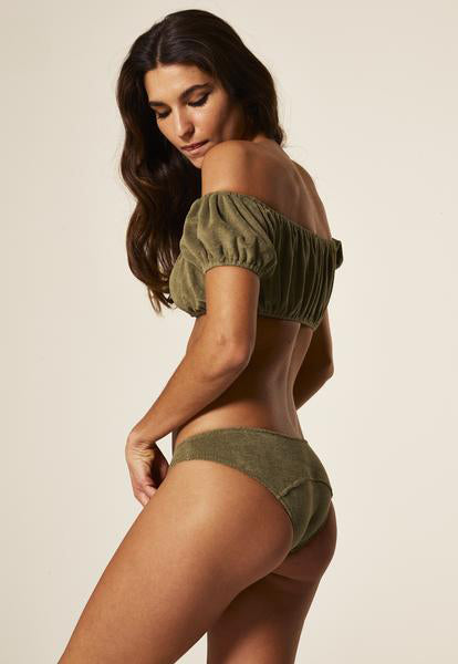 LEANDRA OLIVE TERRY CLOTH BIKINI