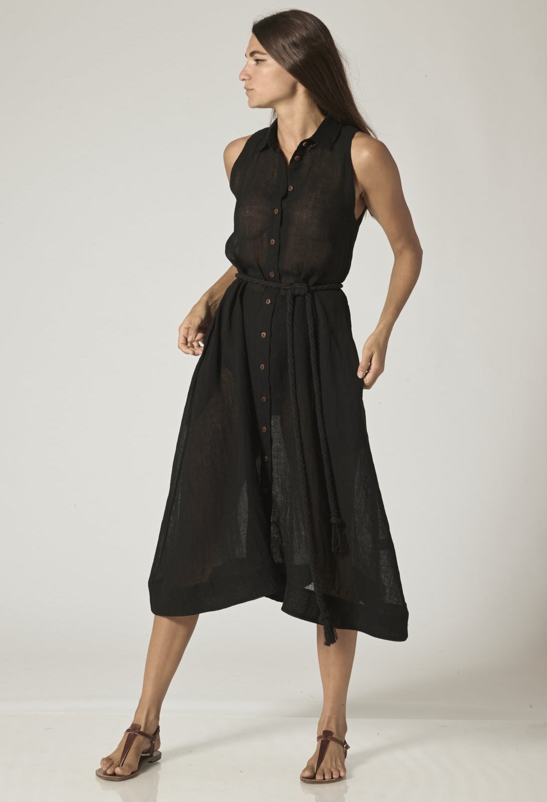 ALISON BLACK ORGANIC GAUZE SHIRT DRESS