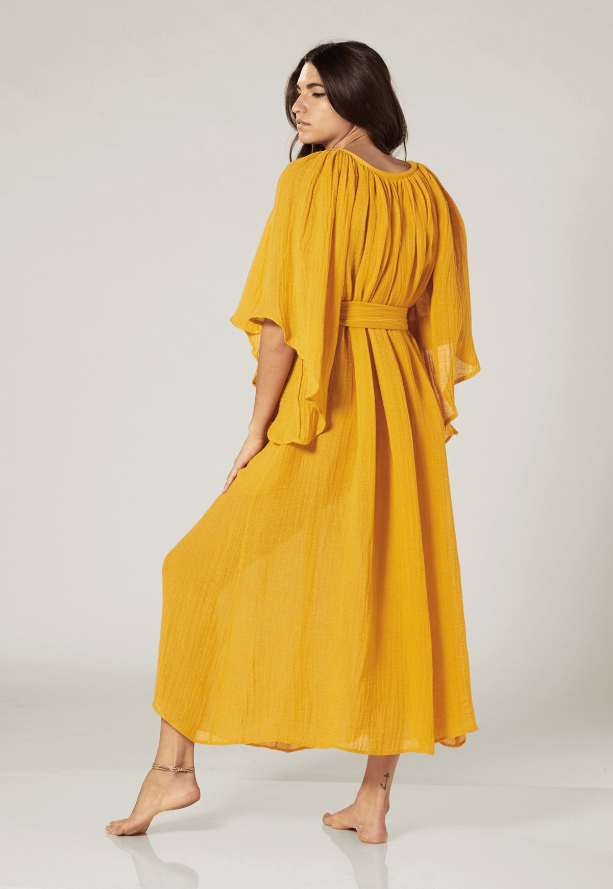 ANGEL SLEEVE SAFFRON GAUZE DRESS