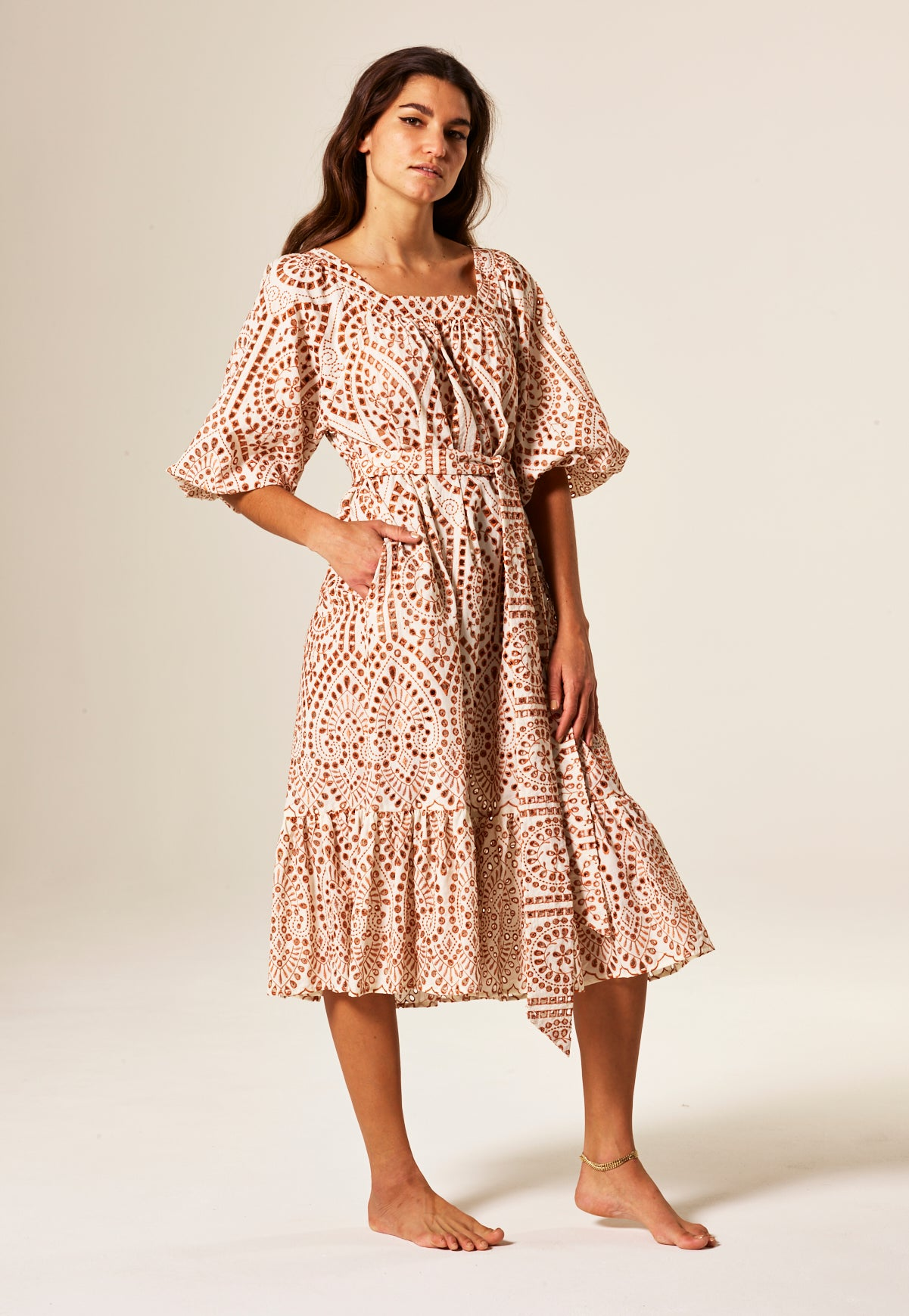 LAURE NATURAL/TERRACOTTA EYELET DRESS