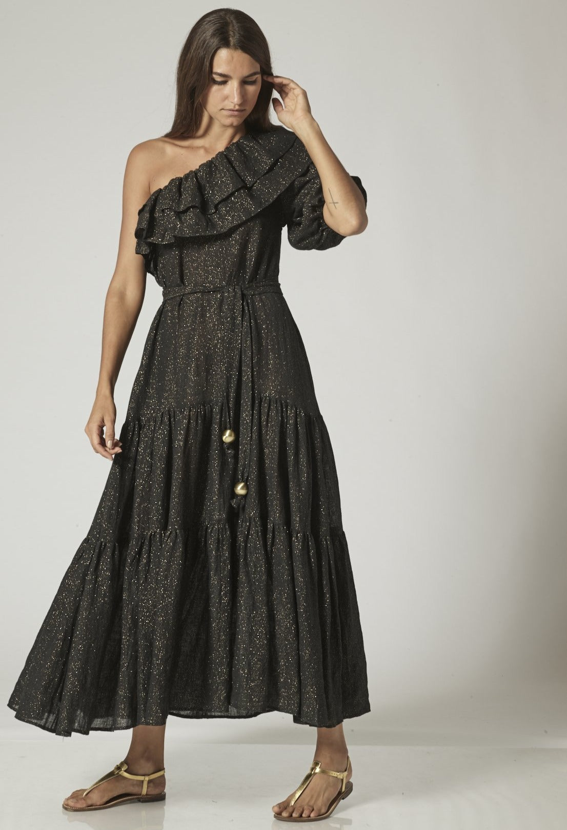 ARDEN BLACK METALLIC GAUZE DRESS