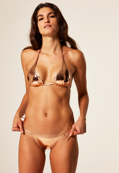 PAMELA ROSE GOLD METALLIC PVC BIKINI