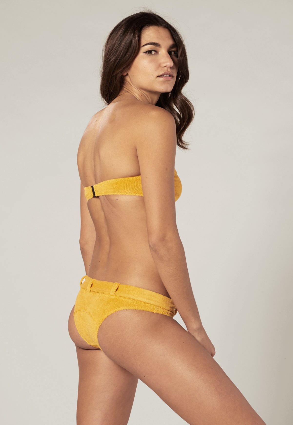 BUCKLE BANDEAU SAFFRON TERRY CLOTH BIKINI