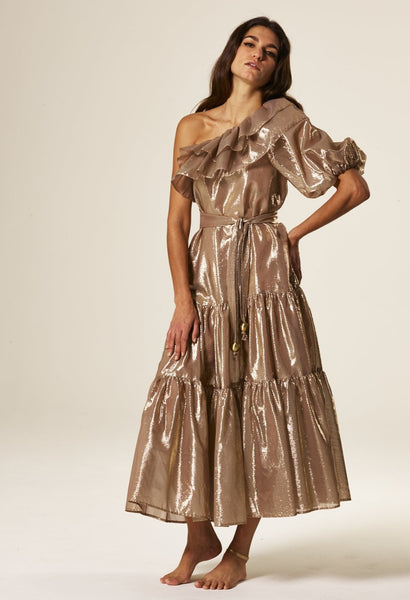 ARDEN GOLD METALLIC POUF SLEEVE DRESS