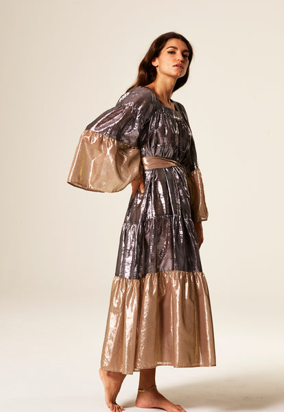 BLACK AND GOLD METALLIC MAXI PEASANT DRESS