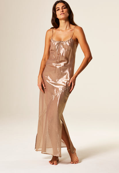 KATE GOLD METALLIC SLIP DRESS