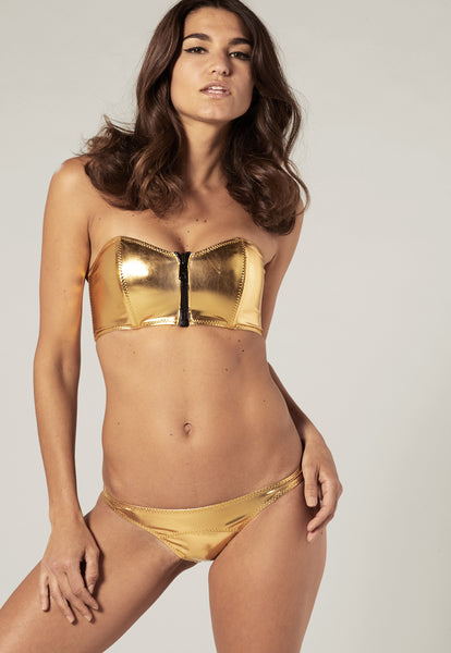 LEIGH GOLD METALLIC PVC BIKINI
