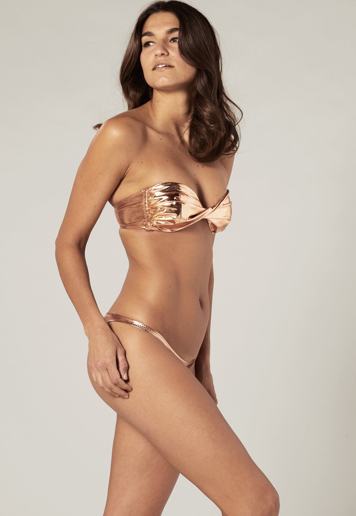 ALEXIA ROSE GOLD METALLIC PVC BIKINI