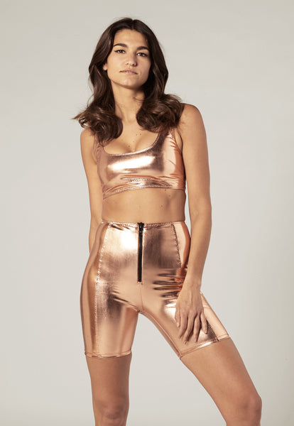 ZANI ROSE GOLD METALLIC PVC TOP