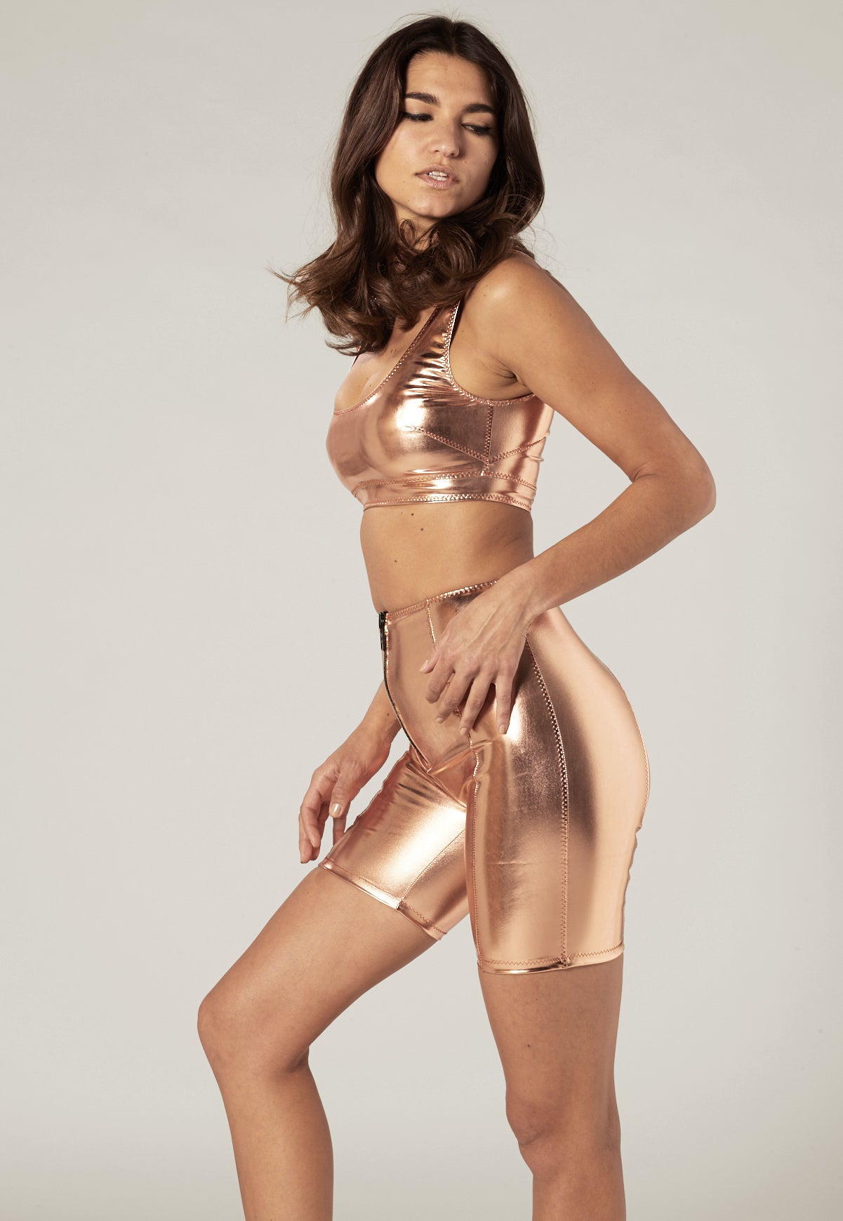 ROSE GOLD METALLIC PVC BIKER SHORT