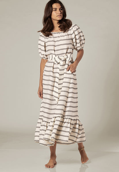 PRAIRIE WHITE STRIPED DRESS